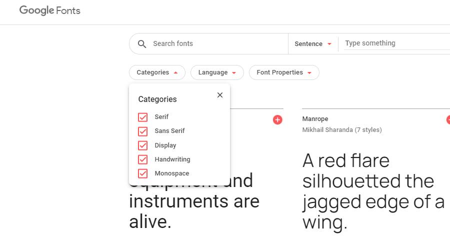 Catálogo de Google Fonts