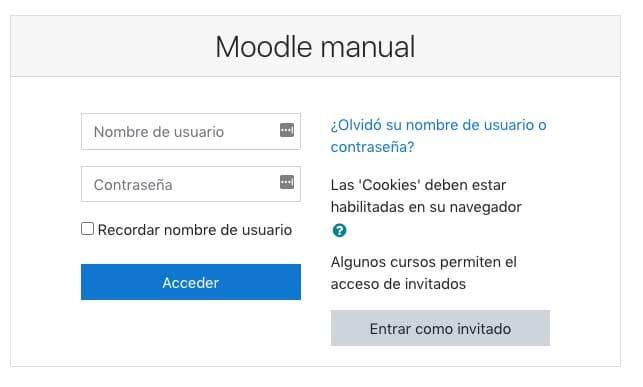 como acceder a moddle manualmente