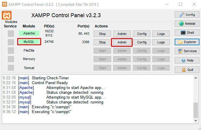 phpMyAdmin-Xampp