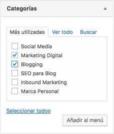 Categorías para el menú de WordPress