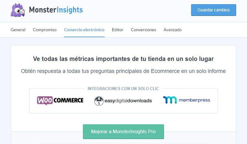 Monsterinsights comercio electrónico