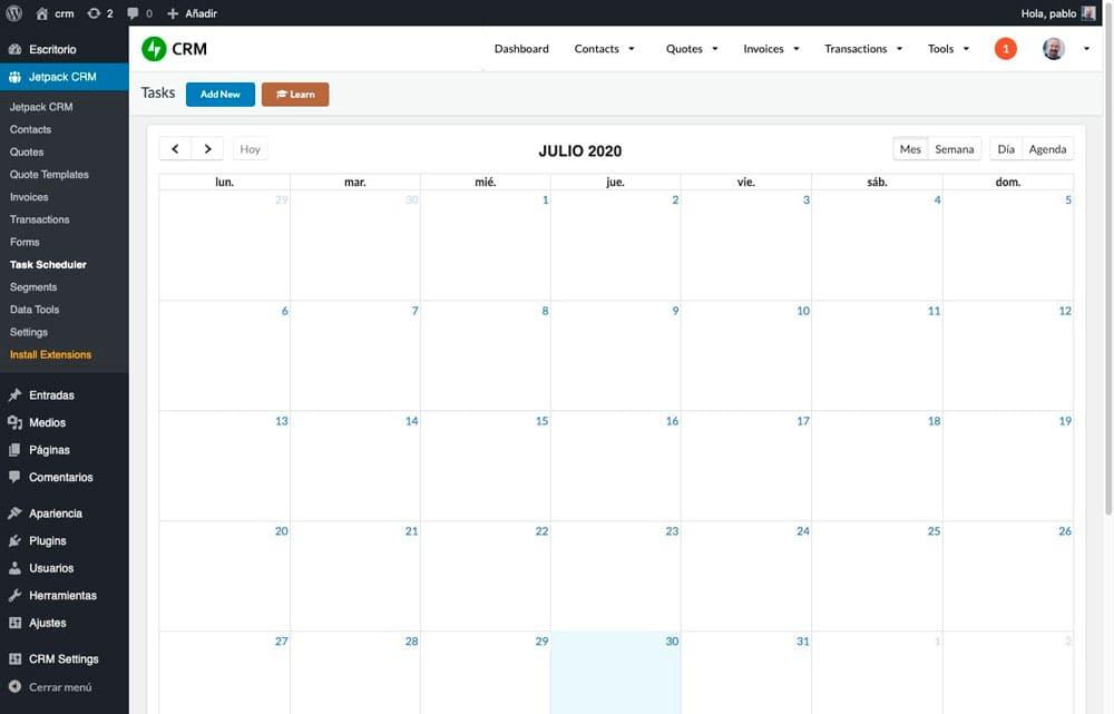 Calendario CRM Jetpack