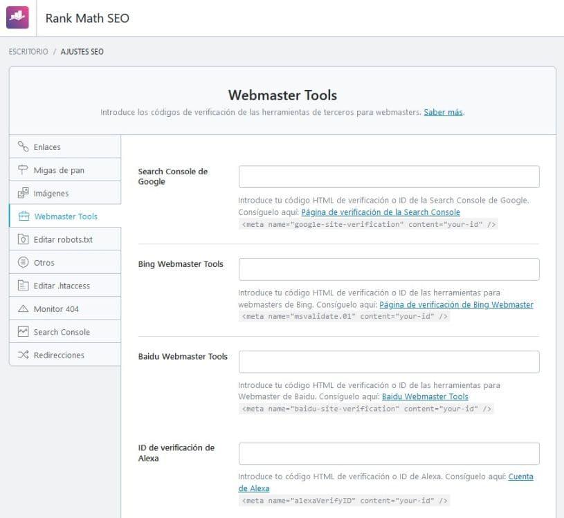 Ajustes generales webmaster tools