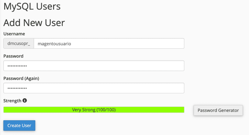 Crear usuario base de datos Magento