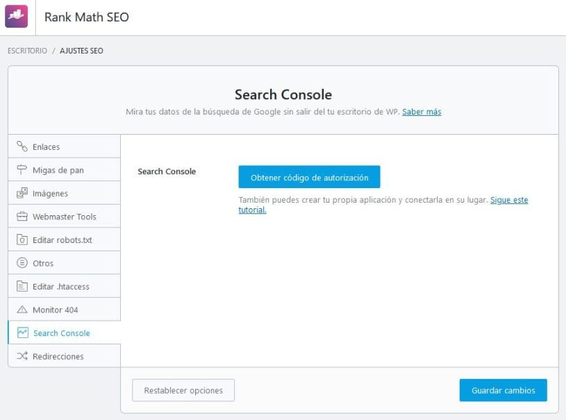 Ajustes generales search console