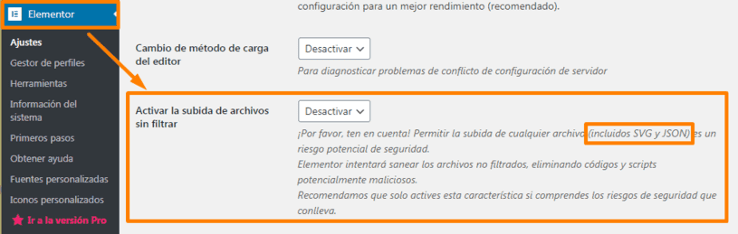 Seguridad SVG Elementor