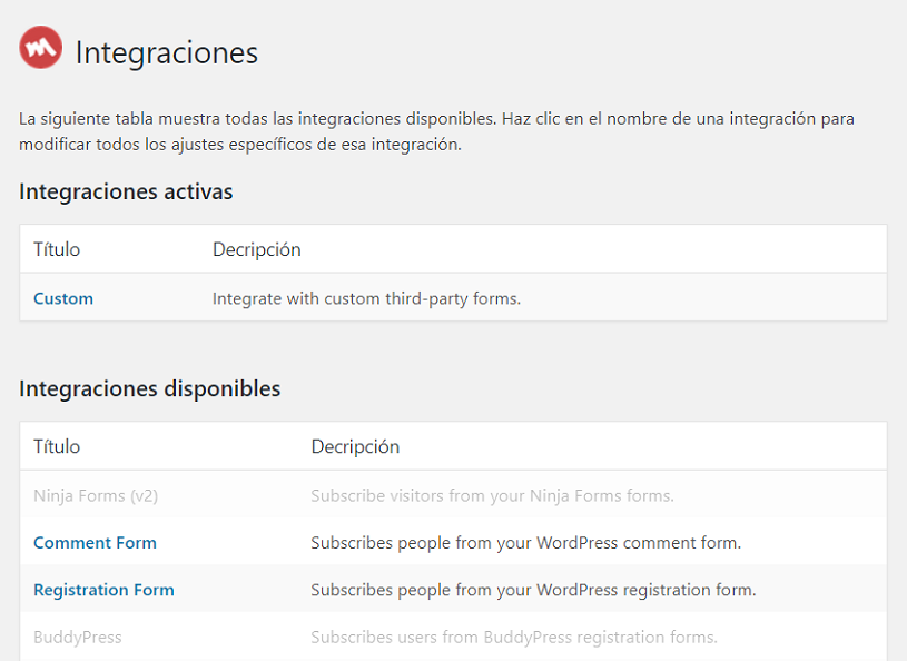 Integracion Mailchimp for WordPress