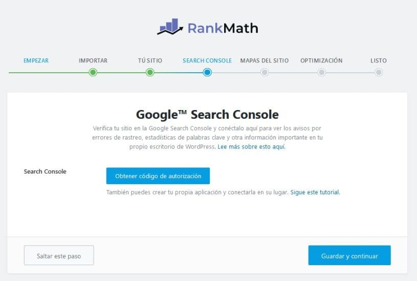 Conexion google search console rank math