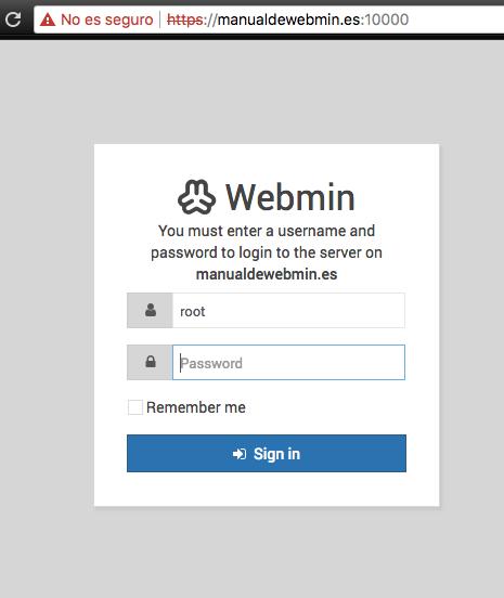 Como acceder a Webmin - Paso 1 - Pantalla de acceso