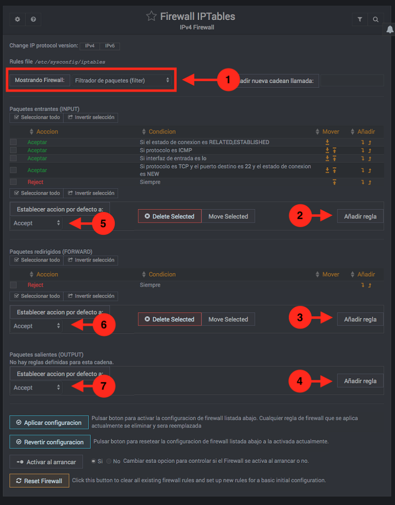 Como administrar el firewall con webmin - Paso 2