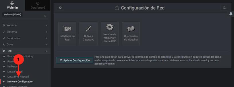 Como administrar la configuracion de red en webmin