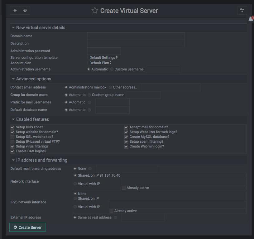 Como añadir un dominio a virtualmin - paso 2