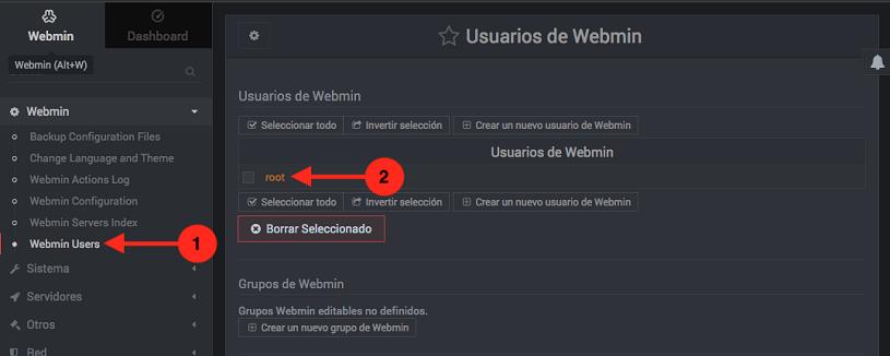 Como cambiar la contraseña de un usuario de Webmin - paso 1