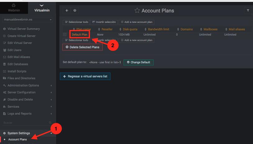 Como cambiar los permisos de los propietarios de cuenta en virtualmin - paso 1