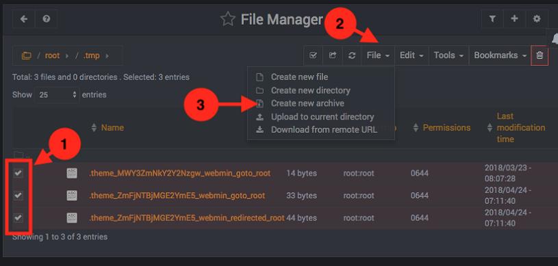 Como comprimir y descomprimir archivos en Webmin - Paso 1