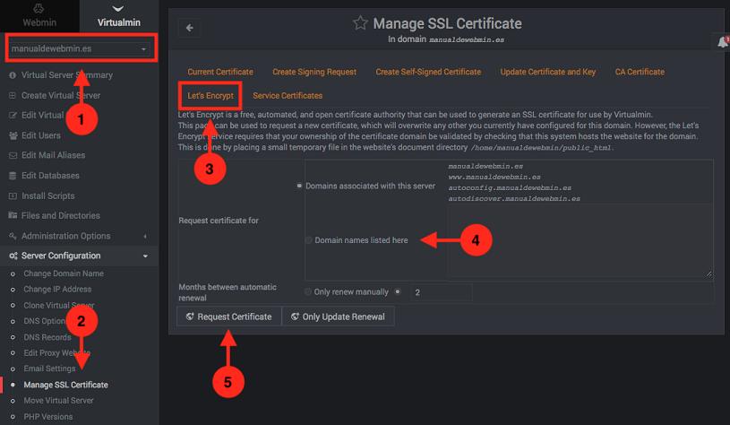 Como configurar certificados SSL gratis de lets encrypt en virtualmin