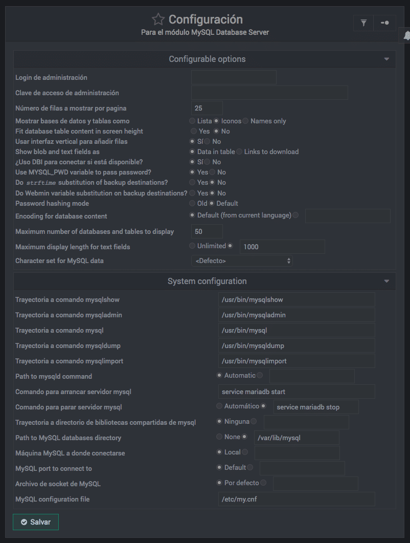 Como configurar modulos en Webmin - paso 2