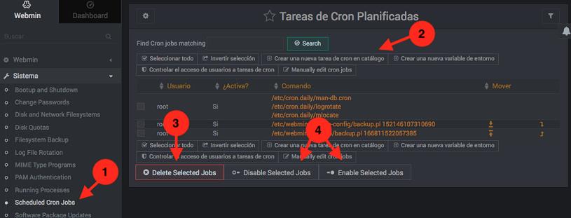 Como crear tareas cron en webmin - Paso 1