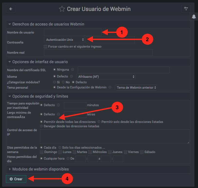 Como crear un usuario de Webmin - Paso 2