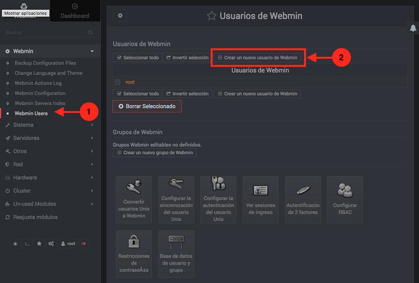 Como crear un usuario de Webmin