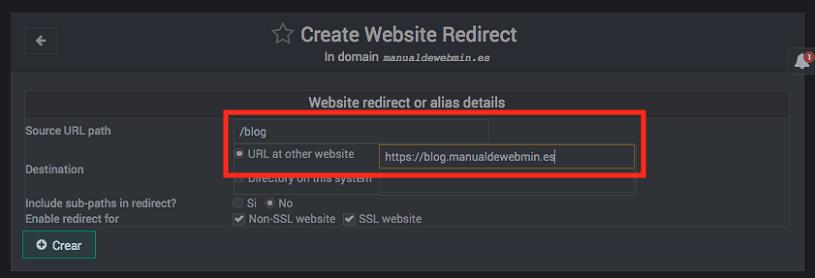 Como crear una redireccion en virtualmin siendo administrador - paso 2