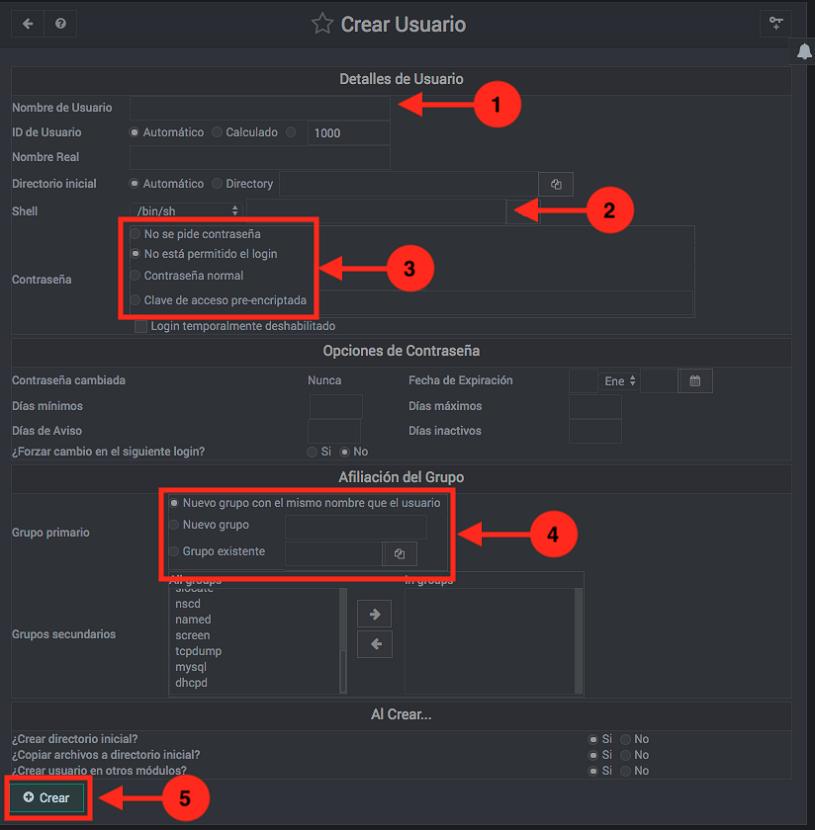 Como crear usuarios de sistema en Webmin