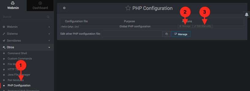 Como editar la configuracion de PHP en Webmin - Paso 1