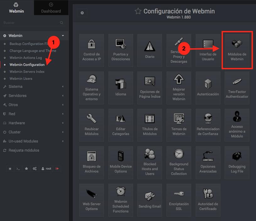 Como gestionar modulos de Webmin