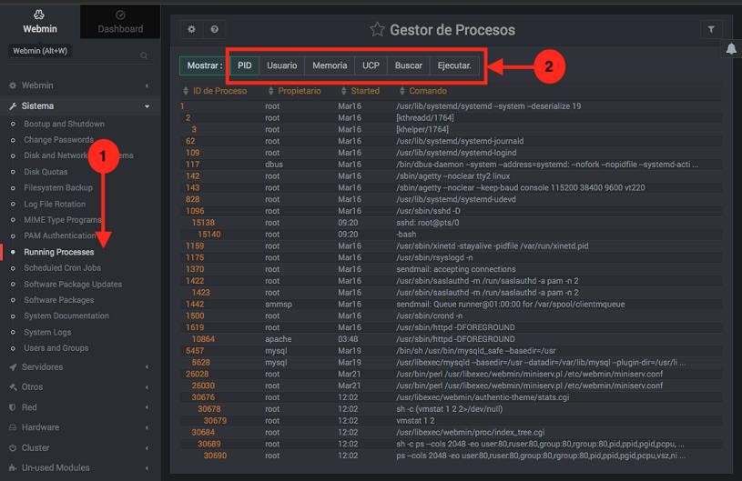 Como mostrar los procesos en ejecucion en Webmin - Paso 1