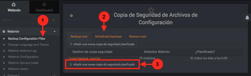 Como programar un backup de la configuracion de Webmin - Paso 1