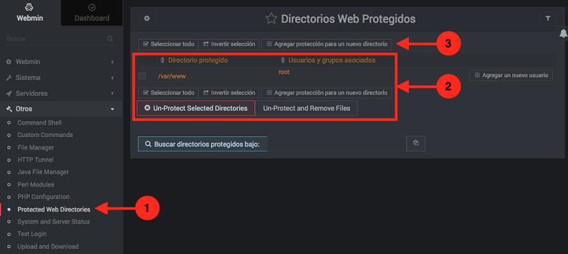 Como proteger directorios web con contraseña en Webmin - paso 1