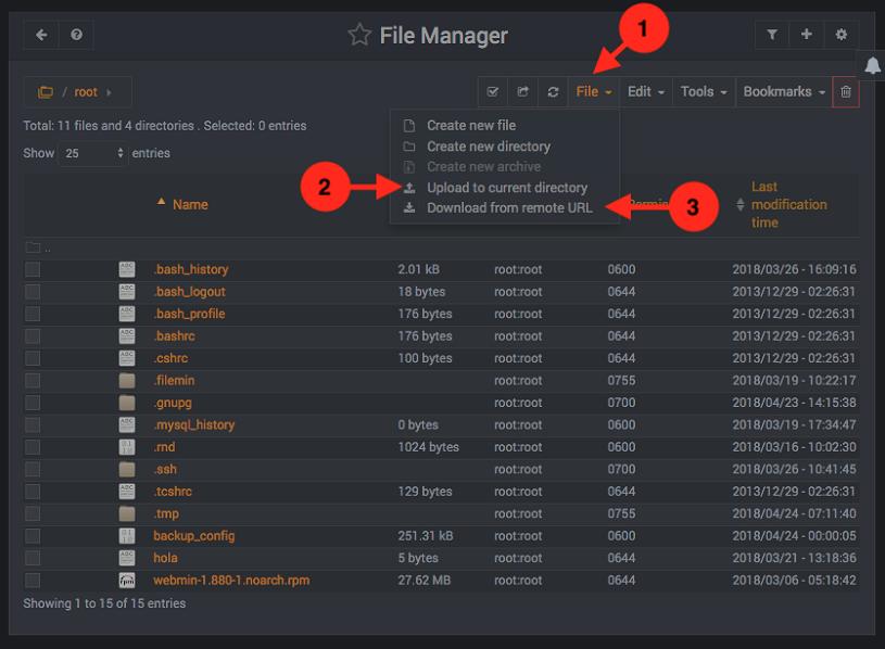 Como subir y bajar archivos en Webmin
