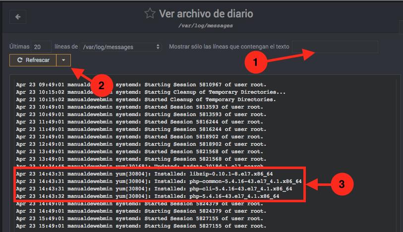 Como ver los logs del servidor en Webmin - Paso 2