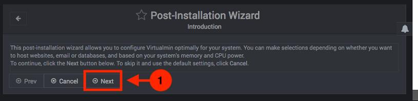 Configuracion inicial de Virtualmin - Paso 1