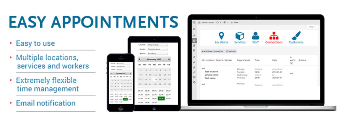 Ordenador portátil, tableta y móvil que muestran el plugin Easy Appointments para hacer reservas en WordPress