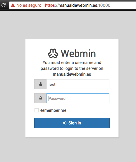 Instalar Webmin en Debian 9 stretch - Paso 7 - Acceso al panel