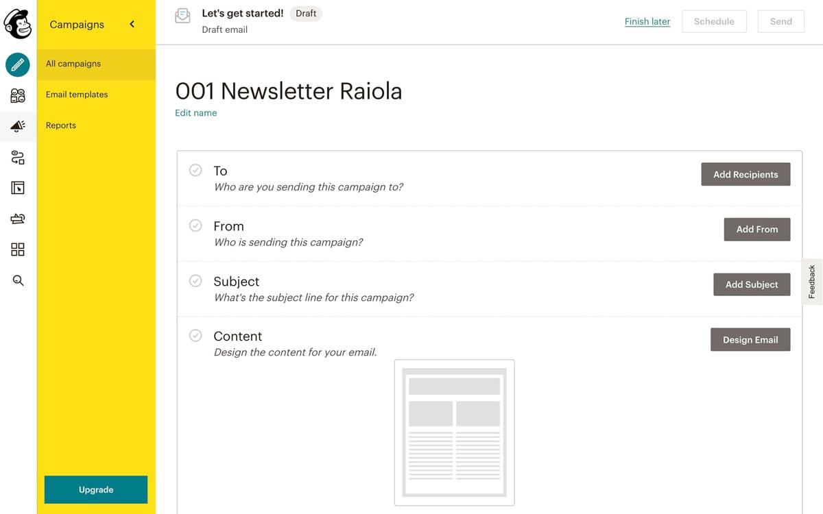 Primera campaña con mailchimp