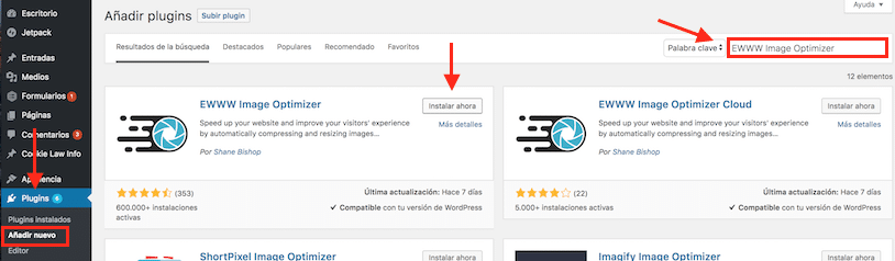 Seccion de plugins de WordPress
