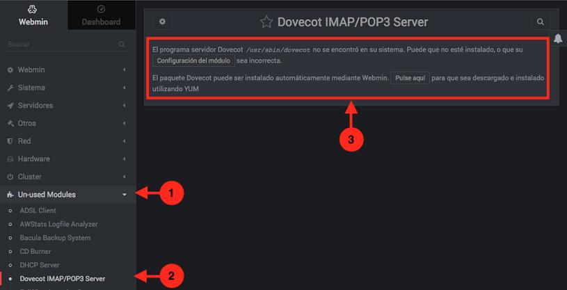 Solucionar problemas con módulos de Webmin que no se activan - Paso 2