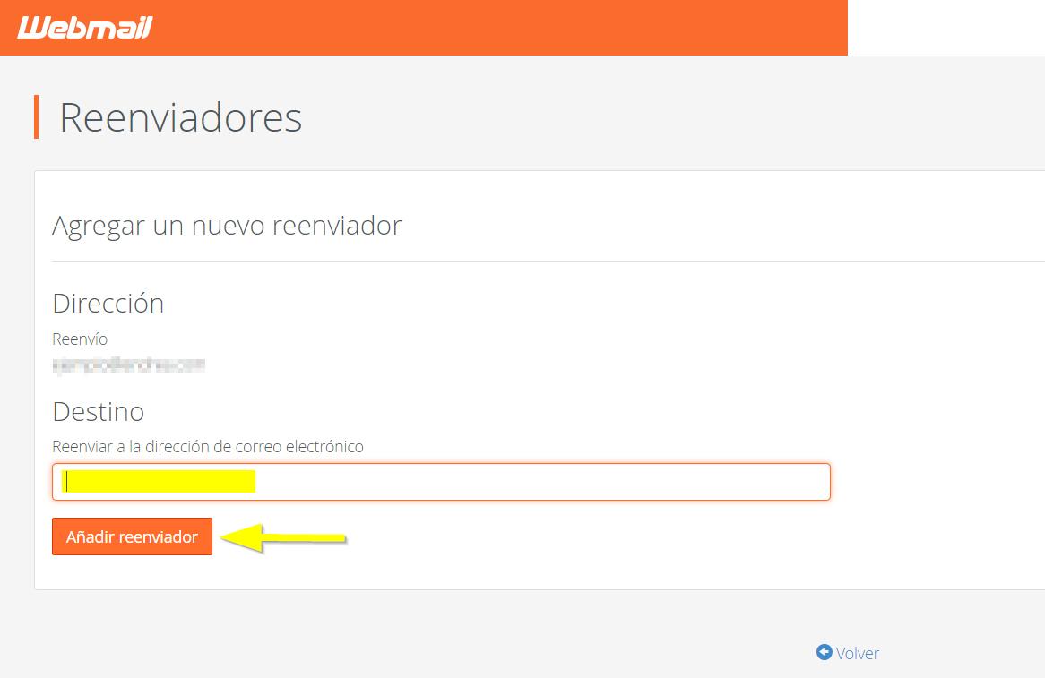 Añadir reenviador desde cPanel