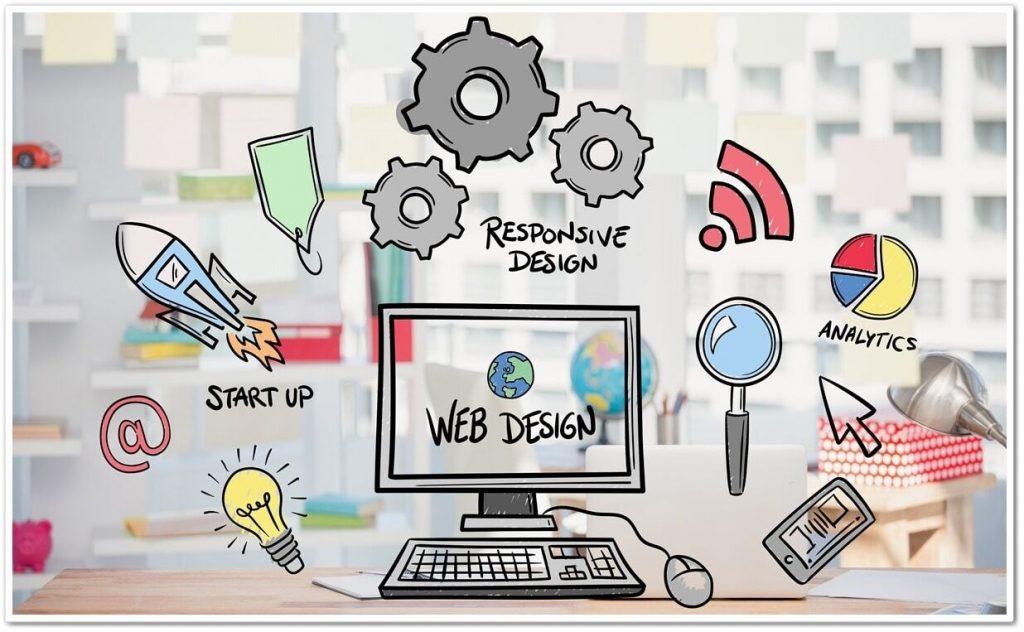 Ilustración de ordenador y herramientas para actualizar contenido seo
