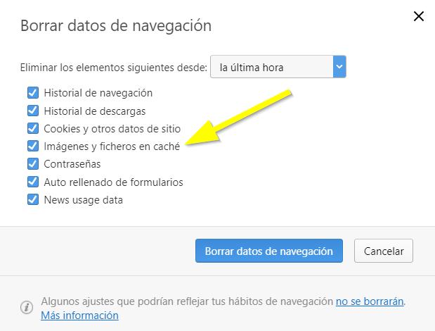 Opción para borrar cache Opera imagenes ficheros