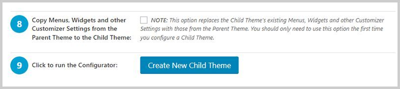 Paso 8 y 9 de Child Theme Configurator