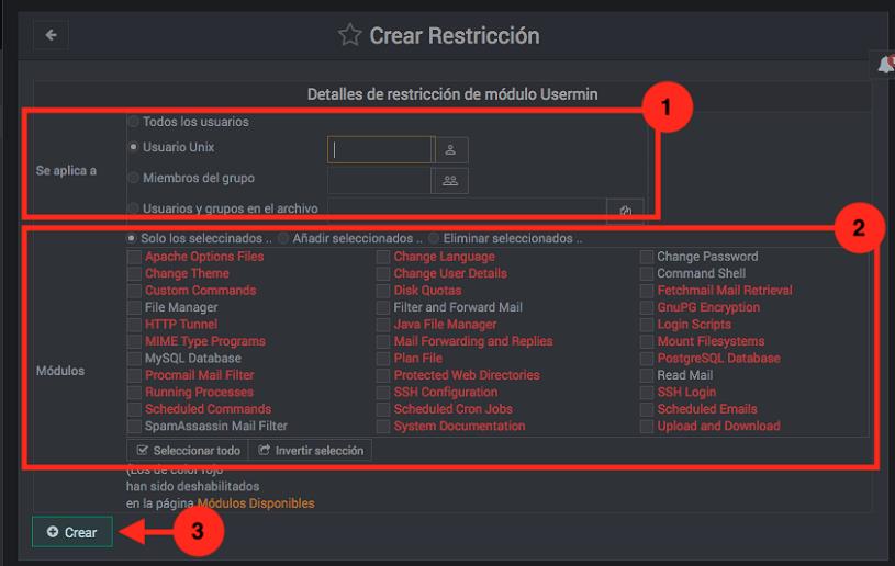 como configurar los permisos de usermin - paso 3