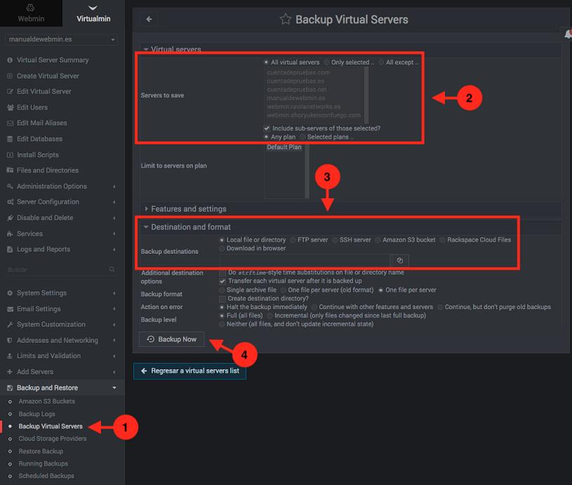 como hacer copias de seguridad en virtualmin siendo administrador