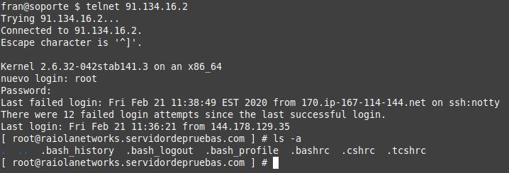 conexion telnet