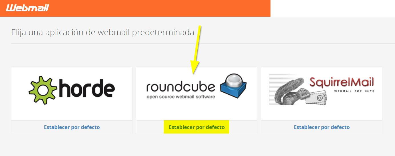 cPanel elegir webmail