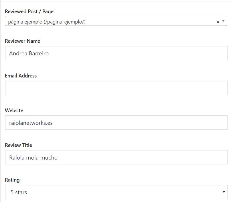 ejemplo customer reviews plugin testimonios wordpress