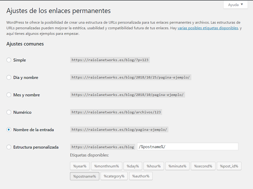 estructura permalinks wordpress