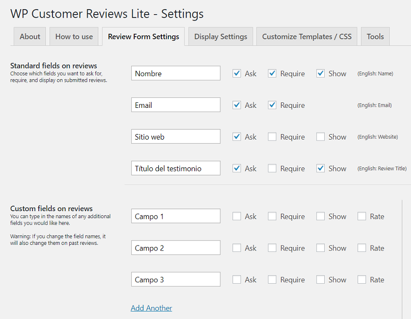 formulario wp customer reviews plugin testimonios wordpress